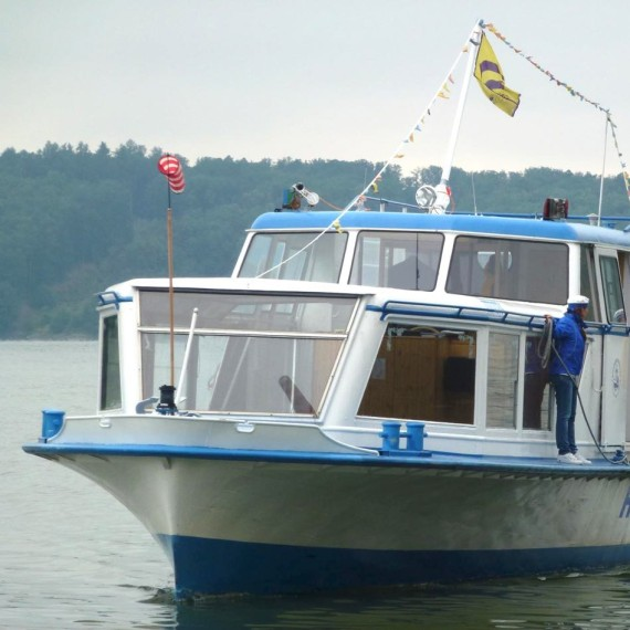 sightseeing boat sail on Dalešice Reservoir